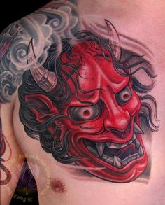 What does hannya mask tattoo mean? We have hannya mask tattoo ideas, designs, symbolism and we explain the meaning behind the tattoo. Oni Tattoo, Gakkin Tattoo, Fear Tattoo, Hanya Tattoo, Tebori Tattoo, Samurai Maske Tattoo, Hannya Maske Tattoo, Kunst Tattoos, Body Art Tattoos