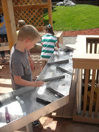 marble or water track? marble or water track? Outdoor Learning Spaces, Outdoor Play Areas, Outdoor Fun, Preschool Playground, Backyard Playground, Arbor Day Foundation, Outdoor Sinks, Arbour Day, Natural Playground
