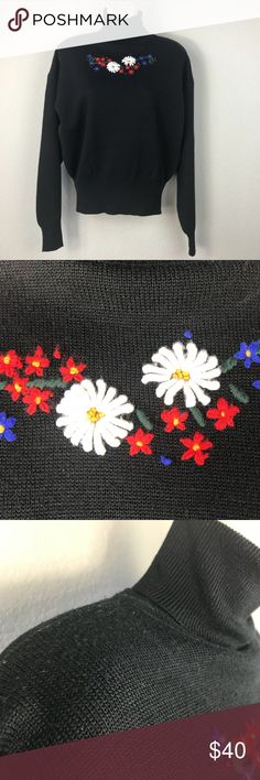 VTG 90s Obermeyer black wool turtleneck sweater VTG 90s ski brand Obermeyer black wool/acrylic turtleneck long sleeved sweater with alpine flower embroidery on chest. Super warm sweater with a close fit is great for skiing or just looking cute on a cold day. Wear with a leather pencil skirt or high waisted jeans for a stylish winter look. Good vintage condition, some wear as shown in pics (shoulders) but no holes tears or stains. Made in Hong Kong. Obermeyer Sweaters Cowl & Turtlenecks