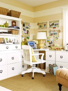 Functional Furniture. This pretty and practical home office makes work time enjoyable. A modular desk unit (consisting of separate base cabinets, corner desk, and hutch) offers plenty of counter and storage space. These furniture pieces are perfect for families because the separate units look like custom furniture, yet they are easy to rearrange and can grow as needed. Where do u get these?