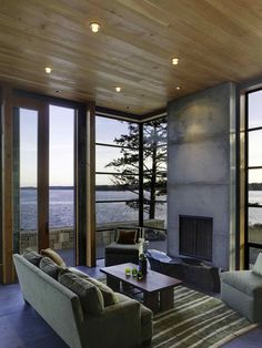The Stone Walls of the North Bay Residence in Washington, USA   Home Design Lover