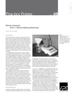 "APT Bulletin - Practice Point  No. 5 ""Mortar Analysis Part 1: Mortar-Making Materials"" By: Lorraine Schnabel"