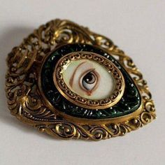 Victorian Mourning Brooch - Irish Lover's Eye - original painting by Mab Graves Victorian Jewelry, Antique Jewelry, Vintage Jewelry, Brass Jewelry, Eye Jewelry, Jewelry Accessories, Jewelry Design, Jewellery, Lovers Eyes