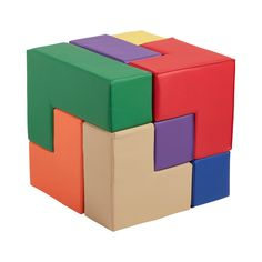 Transform any indoor play or learning space into a whole new world of possibilities. The ECR4Kids SoftZone Brainy Blocks is inspired by the SOMA Cube – a classic brain puzzle with 240 solutions! Children will find themselves immersed in the adventure of an oversized 3D puzzle while learning essential development skills like spatial awareness, problem-solving, collaboration, and motor skills. These vibrant and colorful foam soft blocks are not only a great introduction to colors, shapes, and… Youth Games, Water Solutions, Cube Puzzle, Indoor Play, 3d Puzzles, Learning Spaces, Foam Building Blocks, Polyurethane Foam, Physical Play