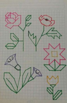 Grecas..... Blackwork Patterns, Blackwork Embroidery, Cross Stitch Embroidery, Embroidery Patterns, Graph Paper Drawings, Graph Paper Art, Easy Drawings, Cross Stitch Designs, Cross Stitch Patterns