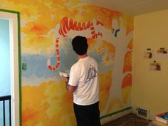 calvin and hobbes painted shoes | Awesome Calvin and Hobbes Mural Painted for a Nursery - My Modern ...