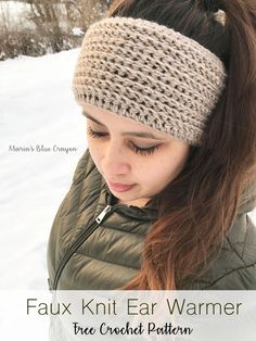 Faux Knit Ear Warmer | Free Crochet Pattern | Easy Crochet pattern | Maria's Blue Crayon