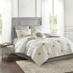 Comforters & Comforter Sets You'll Love in 2021 | Wayfair Grey Comforter Sets, Bedding Sets, Glam Bedding, How To Clean Pillows, Cotton Duvet, Cotton Fabric, Duvet Cover Sets, 1 Piece