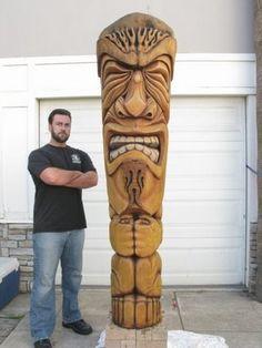 Shellbelle's Tiki Hut: The Art of Tiki Carving – - Modern Arte Bar, Tiki Maske, Tiki Pole, Tiki Art, Tiki Tiki, Tiki Head, Tiki Statues, Tiki Decor, Hawaiian Tiki