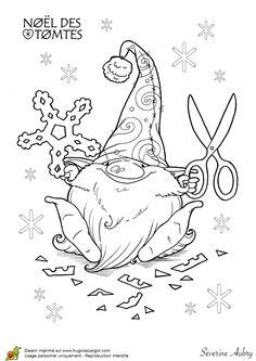 Coloriage les tomtes lutins suedois flocons sur Hugolescargot.com - Hugolescargot.com