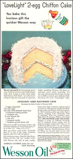 1954 Wesson Oil Recipe for Lord Baltimore Cake Retro Recipes, Old Recipes, Vintage Recipes, Cake Recipes, Dessert Recipes, Cooking Recipes, Beef Recipes, Recipies, Vintage Baking