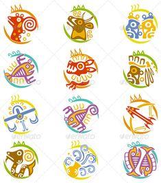 family signs-- aquarius, leo, sagittarius~ mayan style