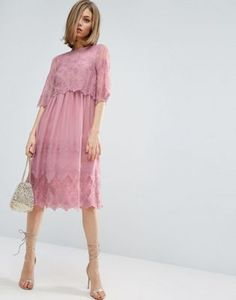 ASOS PREMIUM Double Layer Pretty Embroidered Dress