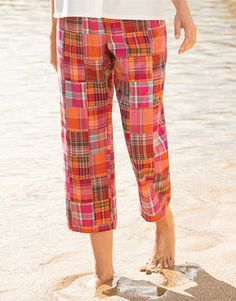 Sunset Patch-Madras Cropped Pants