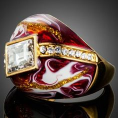 Gold Plated SWAROVSKI ELEMENTS Red Oil Painting Pattern Ring $19,98 #jewelryvo #jewelry #rings