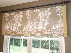 Roman shades - rod, bed sheet, fabric, liquid stich - kitchen window treatment ideas