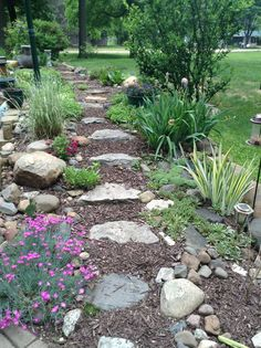 this garden area has stones for steps on our slope in front yardlined with hen and chicksdianthus and a couple of other ground cover plants