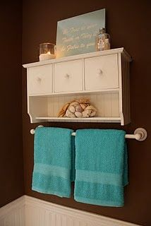 Favorite Paint Colors: beautiful combination! love the brown and white, esp with pop of color!! bathroom