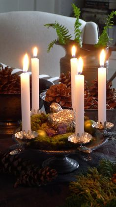 antique Christmas tree candle clips with white tapers...via An Urban Cottage