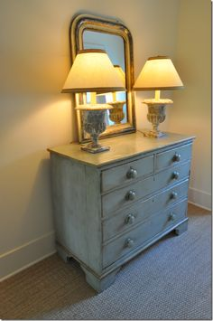 Seagrass rug, painted dresser, matching lamps