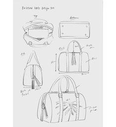 Bag design by Fashionary - Bag making Inspo - bags Leather Bags Handmade, Leather Craft, Handmade Purses, Leather Purses, Leather Wallet, Tote Bags, Drawing Bag, Circle Purse, Bag Illustration
