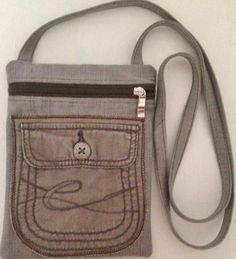 Sac en jean pour téléphone portable, 1 poche ventrale, bandoulière, doublure taffetas marron : Sacs bandoulière par jossi-creations