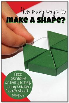How many ways can you make a shape? How many ways to make a shape - a free printable to get kids practicing lots of ways to combine shapes in order to learn basic geometry skills Preschool Math, Math Classroom, Kindergarten Math, Teaching Math, Math Activities, Maths Resources, Preschool Ideas, Teaching Tools, Classroom Ideas