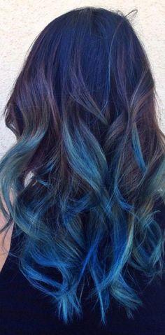 New hair blue streaks beauty ideas Hot Hair Colors, Ombre Hair Color, Purple Hair, Pastel Hair, Blue Ombre, Dye My Hair, New Hair, Pelo Multicolor, Gorgeous Hair