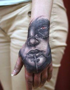 Hand portrait with chain and cross Tattoo   #Tattoo, #Tattooed, #Tattoos