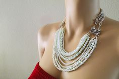Pearl Bridal Necklace, Statement Wedding Necklace, Bridal Bib Necklace,, Wedding Rhinestone Jewelry, Chunky Pearl Necklace. $148.00, via Etsy.