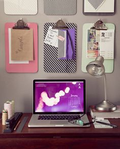 Place clipboards in rows on the wall to keep pages organized by category (magazine clippings, thank you notes, receipts) — and off your desk. See more at Elephantshoe »  - GoodHousekeeping.com