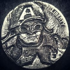 My hubbys most recent hobo nickel art. Handmade rolled copper shield with stand to display coin:))) Prince Charming Costume, Hobo Nickel, Metal Art, Captain America, Wwii, Coins, Carving, Personalized Items, Cool Stuff