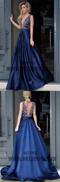 Long Floor Length Prom Dresses, Beading Prom Dresses, V-neck Prom Dresses, V-back Prom Dresses, TYP0316 #promdresses