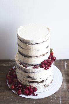 Semi Naked Chocolate & Red Berries Cake