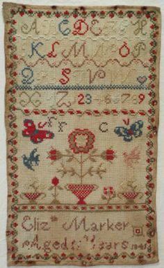 Early 19th Century Wool Work Motif Sampler by Elizabeth Marker 1841   eBay