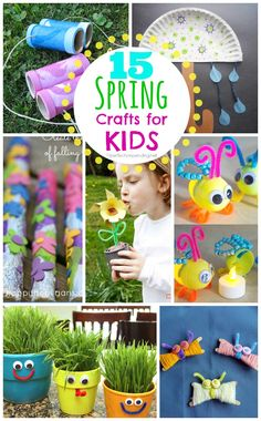 15 Spring Crafts for Kids! Great ideas for using up Plastic eggs too!