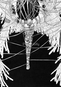 Angel Sava Captured By The Darkness by Poisonlolly. Dark art illustration created with pen and Chinese ink on paper.  © Poisonlolly  Visit : http://poisonlolly.blogspot.com