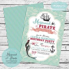 Hey, I found this really awesome Etsy listing at http://www.etsy.com/listing/153925815/vintage-mermaid-and-pirate-invitation