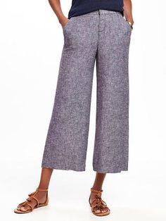 2fdd3059d64 High-Rise Linen-Blend Wide-Leg Crops for Women Cropped Pants