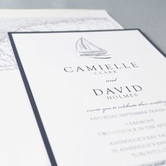 Designed by Stylish Moments  |  www.stylishmoments.ca  Sail away with an elegant nautical wedding invitation. This lovely couple have a passion for sailing the open waters of Lake Ontario. A perfect theme for a memorable event is what makes this stylish design a success! I provide products and services across Canada.