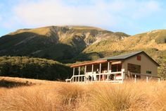 A hut in the beautiful landscape of the Nelson Lakes National Park in New Zealand.