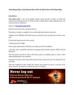 Tata photon plus, tata photon max wifi & mts ultra wifi data plan
