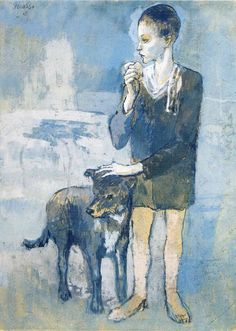 Boy with a Dog by Pablo Picasso  Size: 57.2x41.2 cm  Medium: gouache on cardboard