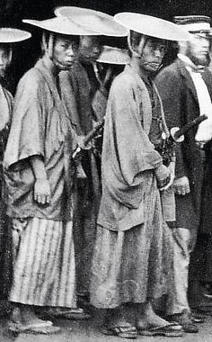 Samurai wearing jingasa.