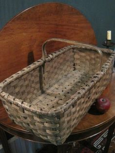 "Antique 1800's Early New England Garden Woven Splint Basket ""Best Patina"" For Sale North Bayshore Antiques"