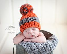 Knit Striped Baby Boy Hat Orange Gray Photo by OopsIKnitItAgain