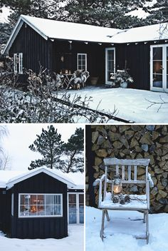 Cozy Winter Cottage - love the dark blue and white trim