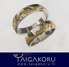 White gold wedding rings, gold nuggets from Lapland. Valkokultaiset vihkisormukset, Lapin kultahiput.