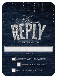 Denim & Diamonds Wedding Response Cards front