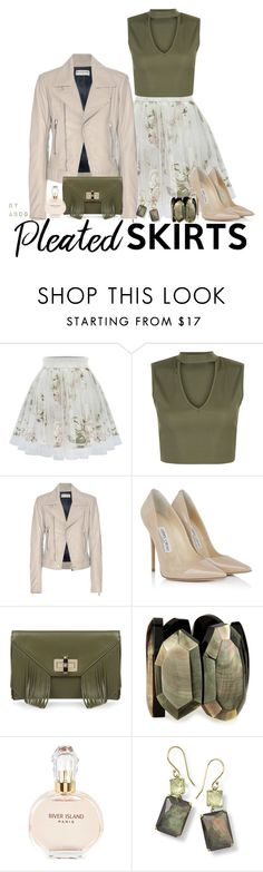 """""""What to Wear with a Pleated Skirt for Spring?"""" by karen-of-abog on Polyvore featuring New Look, Balenciaga, Jimmy Choo, Diane Von Furstenberg, Viktoria Hayman, River Island, Ippolita and pleatedskirts"""